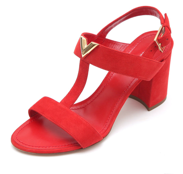 LOUIS VUITTON Sandal Red Suede Leather Gold HW Peep Toe Sz 37.5 - Evesherfashion