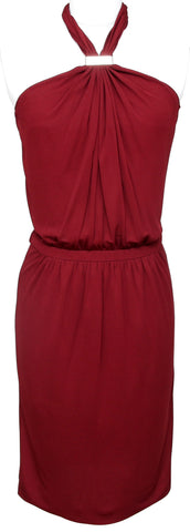GUCCI Dress Maroon Halter Gold-Tone HW Red Brown Viscose Sleeveless Sz S - Evesherfashion