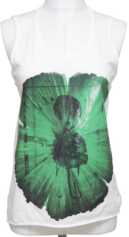 MARNI White Sleeveless T-Shirt Top Shirt Tank Green Graphic Cotton Sz 38 - Evesherfashion