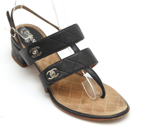 CHANEL Black Leather Sandal Quilted Thong Silver-Tone CC Adjustable Strap 37 - Evesherfashion