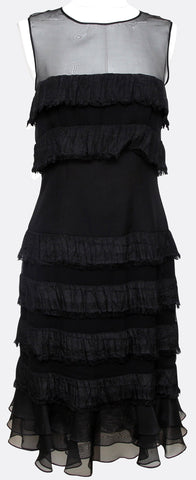 CAROLINA HERRERA Black Dress Sleeveless Ruffles Cocktail Evening Zipper Sz 8 - Evesherfashion