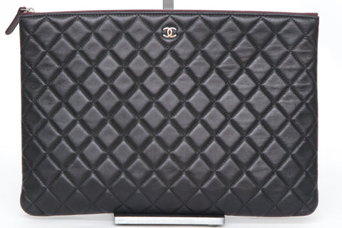 CHANEL Black Lambskin Leather O-Case Pouch Quilted Clutch Rouge Zipper Silver HW - Evesherfashion