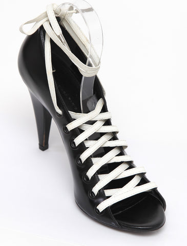 BALENCIAGA Black Leather Pump White Lace-Up Closure Peep Toe Heel Sz 40.5 - Evesherfashion