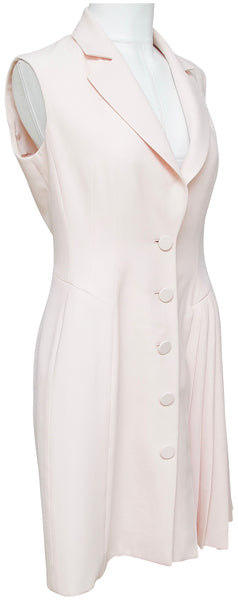 CHRISTIAN DIOR Dress Blush Sleeveless Silk Wool Pleated V-neck Collar F 40 US 8 - Evesherfashion