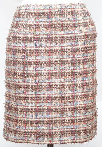 CHANEL Tweed Skirt Knee Length Pencil Fantasy Lesage Sequin Ribbon Sz 42 05P - Evesherfashion