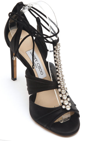 JIMMY CHOO Black Satin Sandal Crystal KENNY 100 Leather T-Strap 37.5 $1295 - Evesherfashion