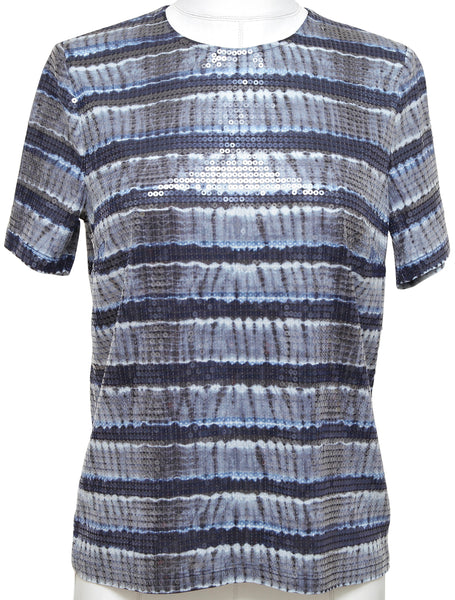 MICHAEL MICHAEL KORS T-Shirt Top Sequin Tie-Dyed Navy Blue Short Sleeve Sz M NWT - Evesherfashion