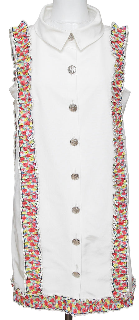 CHANEL Dress White Sleeveless Multicolor Floral Silver HW Collar 42 RUNWAY 2016 - Evesherfashion