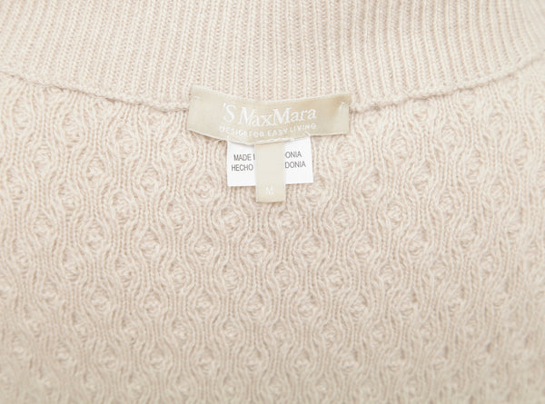 S MAX MARA Dress Knit Sweater Wool Cashmere Ivory Sleeveless Turtleneck Sz M - Evesherfashion