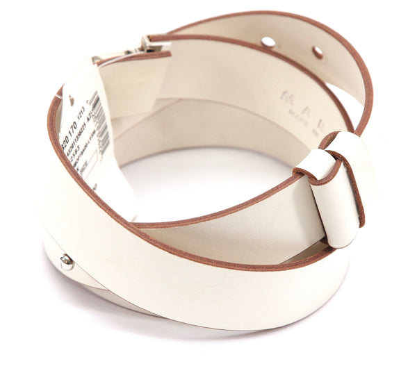 MARNI Leather Belt Ivory Adjustable Push Lock Silver Tone HW Sz 85 NWT - Evesherfashion