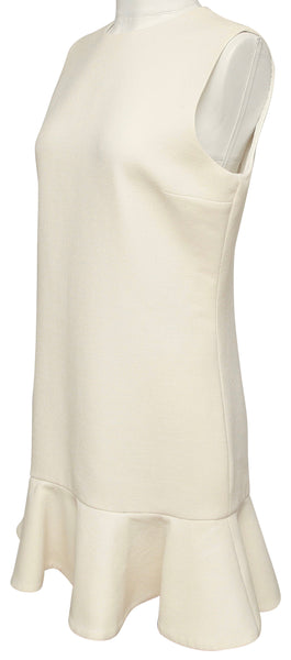 VICTORIA VICTORIA BECKHAM Ivory Dress Sleeveless Wool Crepe Flared Sz M - Evesherfashion