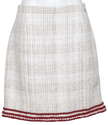 CHANEL Skirt Dress Ivory Ecru Tweed Classic Burgundy Sz 42 Pre-Fall 2018 RUNWAY - Evesherfashion
