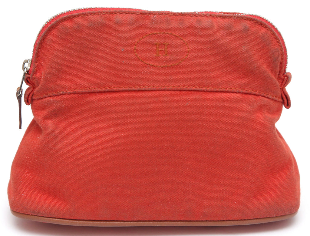 HERMES Bolide Mini Bag Orange Travel Case Pouch Makeup - Evesherfashion