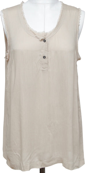 DOLCE & GABBANA Sleeveless Top Shirt Beige Buttons Viscose Silk Sz 42 - Evesherfashion