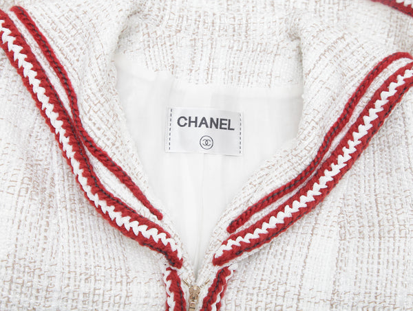 CHANEL Jacket Blazer Coat Tweed Ecru Red Braid CC Scarf Zipper Sz 40 RUNWAY 2018 - Evesherfashion