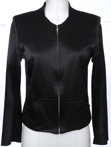 ANN DEMEULEMEESTER Jacket Coat Blazer Black Zipper Pocket Long Sleeve Sz 38 - Evesherfashion