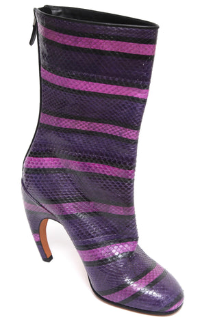 GIVENCHY Mid-Calf Boot Snakeskin Leather Pink Purple Heel Zipper Striped 40 NWT - Evesherfashion