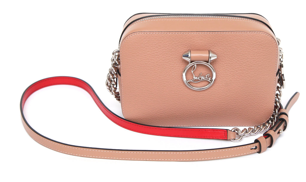 a9dbf001f56 CHRISTIAN LOUBOUTIN Nude Leather RUBYLOU MINI Cross Body Shoulder Bag  Silver HW
