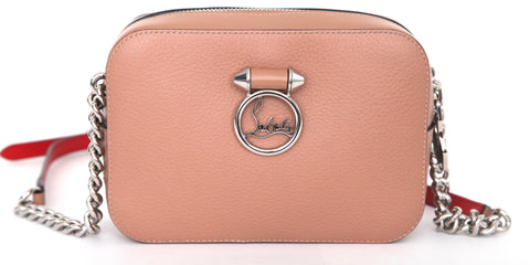 CHRISTIAN LOUBOUTIN Nude Leather RUBYLOU MINI Cross Body Shoulder Bag Silver HW - Evesherfashion