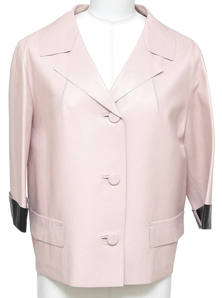 MARNI Jacket Leather Coat Blush Pink Black 3/4 Sleeve Pocket Sz 44 Summer 2014 - Evesherfashion