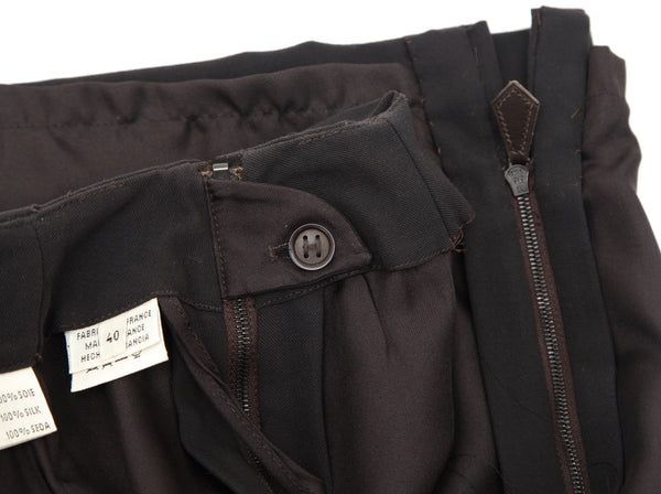 HERMES Skirt Wool Dark Brown Straight Cut Classic Leather Zipper Sz 40 VINTAGE - Evesherfashion