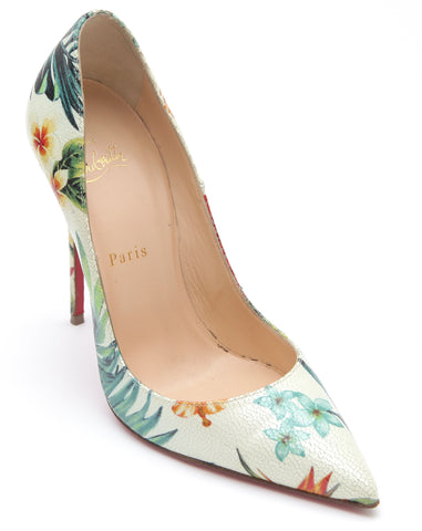 CHRISTIAN LOUBOUTIN Leather Pump SO KATE HAWAII Floral 120 Pointed Toe 38 - Evesherfashion