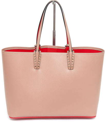 CHRISTIAN LOUBOUTIN Tote Bag Nude Cabata Red Pouch Beige Leather - Evesherfashion