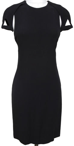 GUCCI Dress Black Body-con Silk Cap Sleeve Cutout Cocktail Evening Clothing 42 - Evesherfashion