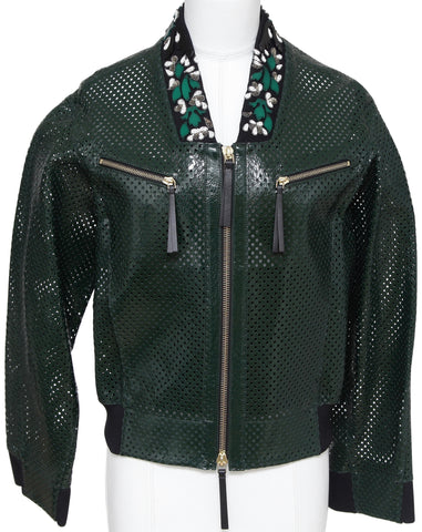 MARNI Jacket Patent Leather Perforated Emerald Green Bomber Coat Floral Sz 38 BN - Evesherfashion
