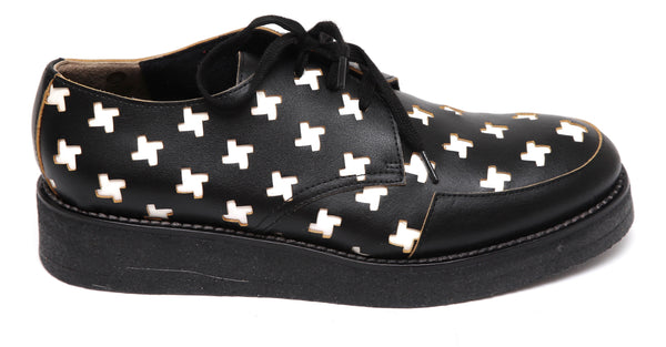 MARNI Leather Oxford Lace Up Cut-Out Creepers Leather Patent Black White 39 NEW - Evesherfashion