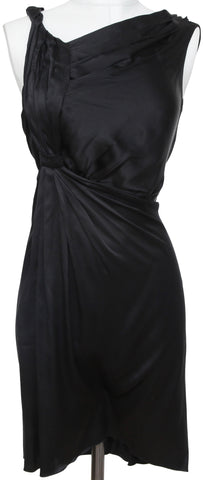 PRADA Black Dress Silk Sleeveless Draped Cocktail Evening Clothing Clothes Sz 40 - Evesherfashion