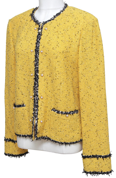 ST. JOHN Collection Knit Jacket Sweater Blazer Yellow Black Pearls Zipper 16 - Evesherfashion