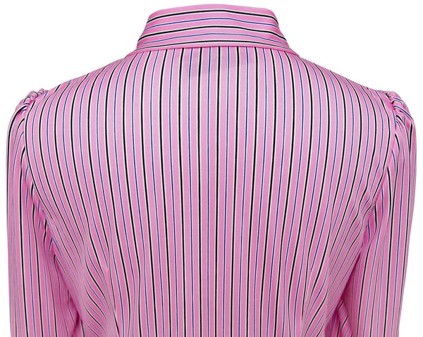 BALENCIAGA Blouse Top Shirt Striped 3/4 Sleeve Neck Tie Rose White Black 38 NWT - Evesherfashion