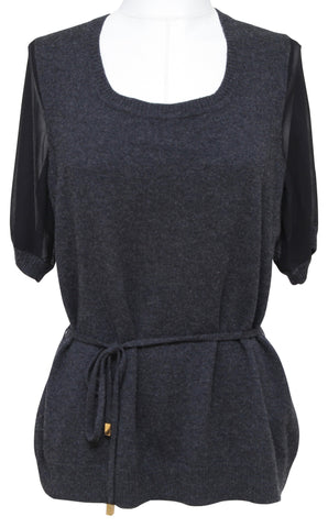 CLASS ROBERTO CAVALLI Sweater Knit Top Grey Black Short Sleeve Belt 14 48 - Evesherfashion