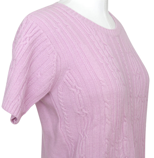 CHLOE Short Sleeve Knit Sweater Top Pink Wool Sz S - Evesherfashion