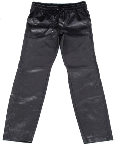 BARBARA BUI Pant Trouser Black Leather Elastic Drawstring Pocket Lined Sz 40 - Evesherfashion