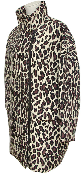 MSGM Coat Jacket Knee Length Animal Print Wool Long Sleeve Zip Closure 40 BNWT - Evesherfashion