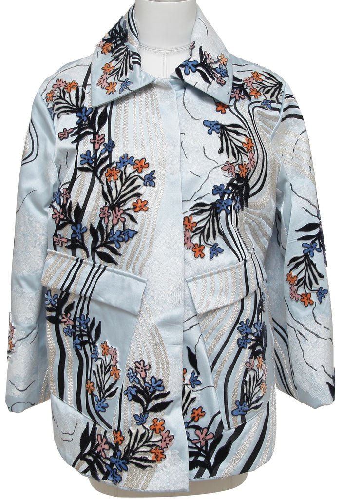 H&M CONSCIOUS Coat Jacket Blue Velvet Floral Embroidery Long Sleeve S BNWT - Evesherfashion