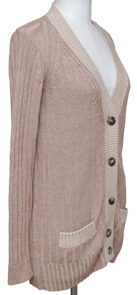 CHLOE Cardigan Sweater Silk Wool Long Button Rose Long Sleeve Sz XS 2011 - Evesherfashion