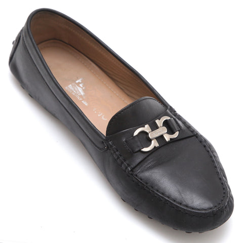 SALVATORE FERRAGAMO Black Leather Loafer Moccasin Silver-Tone Gancini Sz 7.5M - Evesherfashion