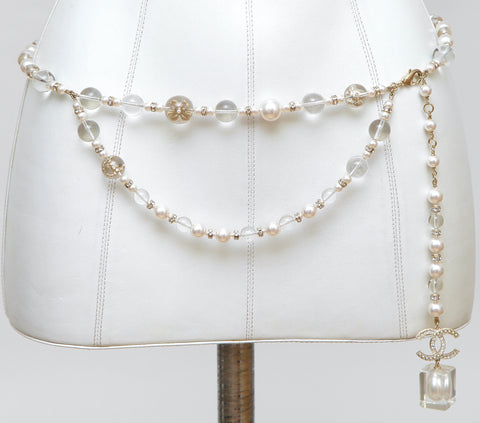 CHANEL PEARL Chain Belt Necklace Crystal Lucite Gold HW Single Drop 2019 NEW - Evesherfashion