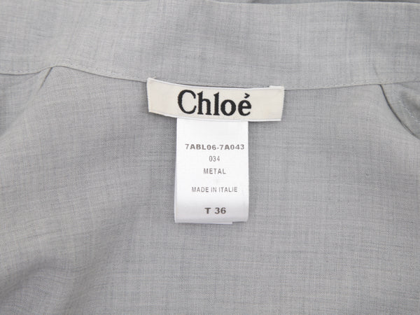 CHLOE Top Blouse Shirt Long Sleeve Grey Cotton Wool Tie Sz 36 Fall 2007 - Evesherfashion