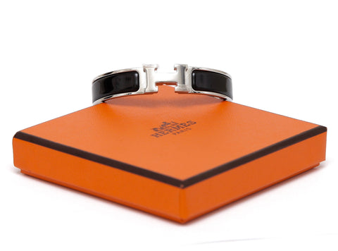 HERMES Bracelet Clic Clac H Narrow Black Enamel Palladium Cuff PM Plastic On HW - Evesherfashion