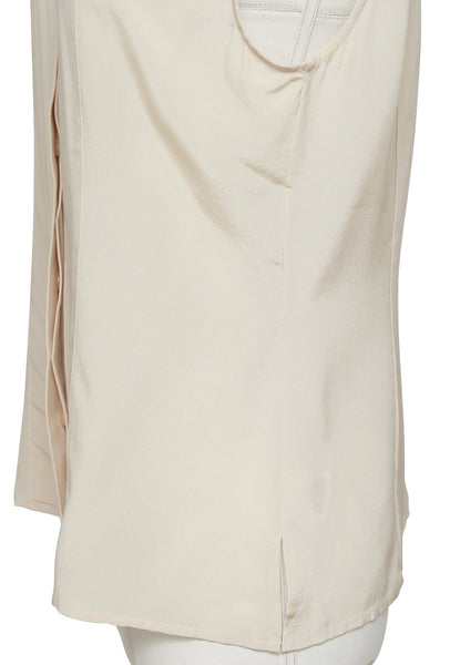 ST. JOHN Blouse Top Shirt Sleeveless Beige Silk Button Down Collar Sz 8 - Evesherfashion