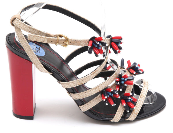TORY BURCH Sandal Strappy AMBROSIA Beaded Floral Red Patent Leather Sz 7.5 - Evesherfashion
