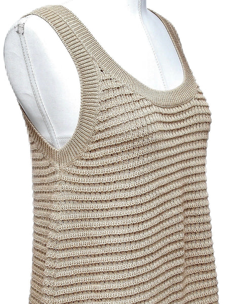 MIU MIU Knit Sweater Blouse Top Tunic Shirt Sleeveless Beige Crochet Cotton 38 - Evesherfashion