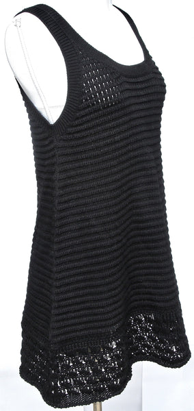 MIU MIU Knit Sweater Blouse Top Tunic Shirt Sleeveless Black Crochet Cotton 38 - Evesherfashion