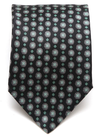 BRIONI Silk Tie Necktie Black Green Silver - Evesherfashion