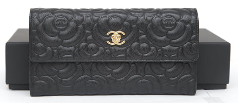CHANEL Black Leather Caviar Long Flap Wallet Camellia Gold-Tone HW - Evesherfashion