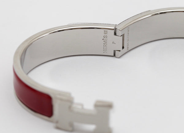 HERMES Bracelet Clic Clac H Narrow Red Enamel Palladium Cuff PM Plastic On HW - Evesherfashion